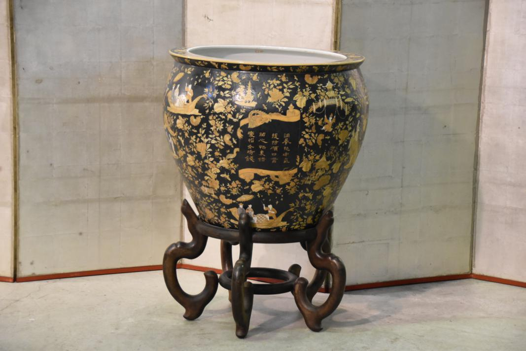 Chinese Fish Pond Urn and Stand