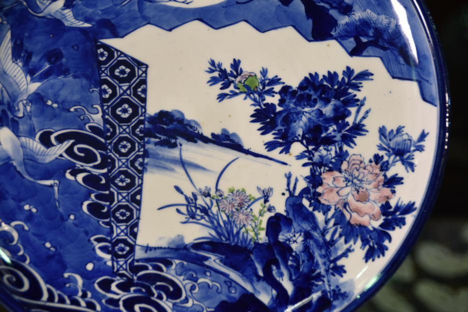 japanese blue and white ceramic plate
