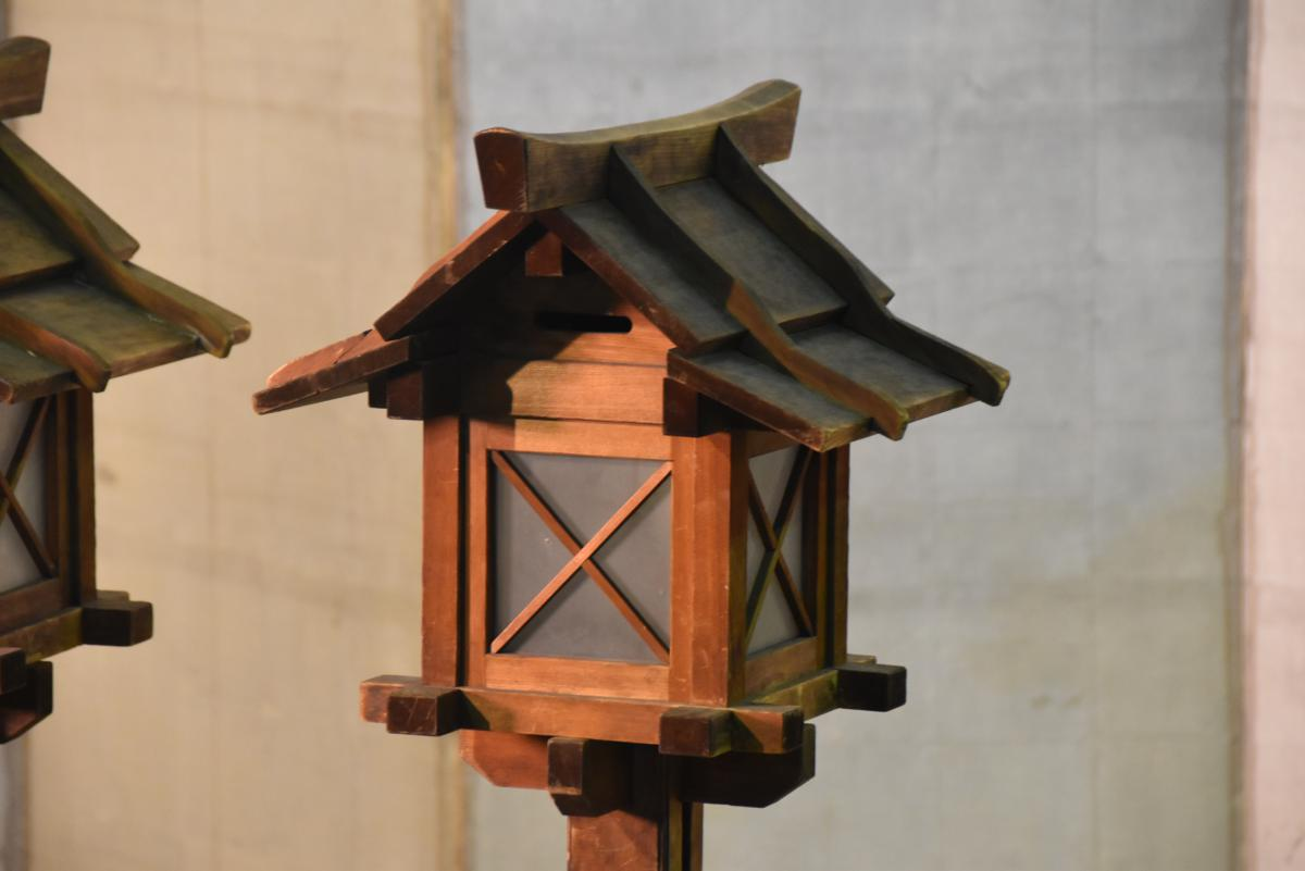 Pair Of Japanese Wooden Lanterns On Hold